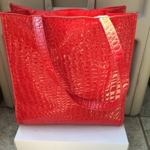 4 FOR $10 Croc Embossed Faux Patent Shopper Tote